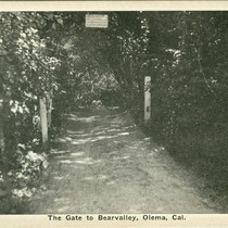 The gate to Bear Valley, from Olema, Marin County, California, circa 1930 ...