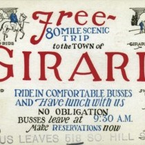Bus ticket to the town of Girard, California, ca.1920s