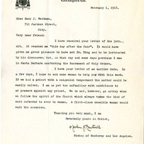 [Bishop John Cantwell letter to Mary J. Workman, 1918 February 1]