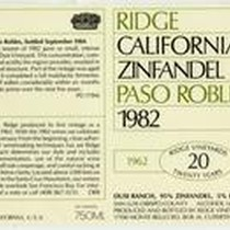 Ridge, California Zinfandel, 1982