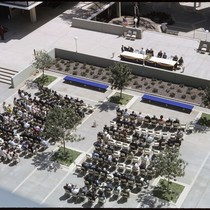 Birdseye view of the Bonner Hall building dedication ceremony taken from Urey ...