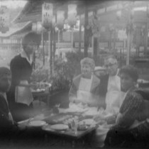 Alice Peters and others at a restaurant