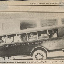 1914 school bus, newspaper clipping