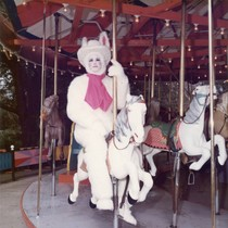 Easter Bunny on the Merry-Go-Round at Frontier Village