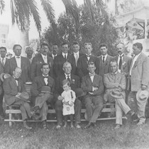 1910 Street Fair Committee group portrait in the Plaza Park, Orange, California, ...