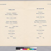 Dinner menu from Gdynia-America Shipping Lines