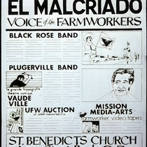 Benefit for El Malcriado Voice of the Farmworkers, Announcement Poster for