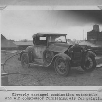Automobile serving as air compressor for painting the Poultry Producers of Central ...