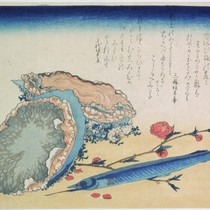 Abalone, sayori and blossoming peach branch, from an untitled set of ten ...