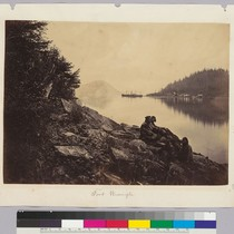 Fort Wrangle [native Alaskan group on shore.] [Signed Helios in rock lower ...