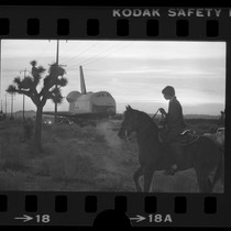 Boy on horseback watching the Space Shuttle Enterprise being towed across Antelope ...