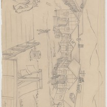 Pencil drawing of camp by Yoshiko Uchida