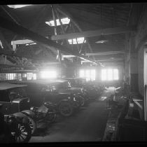 Automobiles in repair shop
