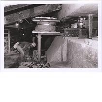 Base isolator underneath Oakland City Hall after Loma Prieta earthquake, circa 1990-1995