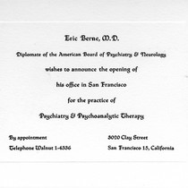 Announcement Card for Eric Berne's San Francisco Psychiatry Practice