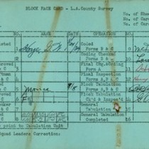 WPA block face card for household census (block 1013) in Los Angeles ...