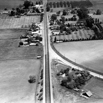 Aerial view of downtown Dublin and old Lincoln Highway 50 on the ...