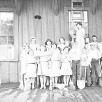 Cleaning the 4-H Club Room at the Northwestern Pacific Depot in Tomales, ...