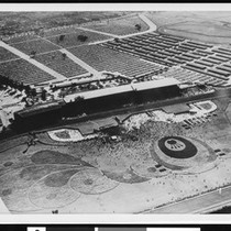An aerial view of a horse racetrack in Santa Anita Park, Arcadia, ...