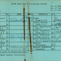 WPA block face card for household census (block 1139) in Los Angeles ...