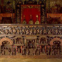 Altar table (outer) - Ornate, carved teak, lacquer & gold leaf overlay, ...