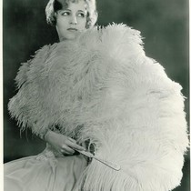 Blanche Le Clair Promotional Photo, with Ostrich Fan and Boa