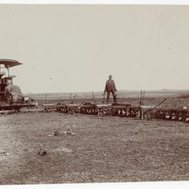 Agricultural workers steam plowing in Stockton, California