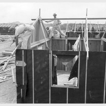Poston, Ariz.--(Site # 3)--Barracks under construction at this War Relocation Authority center ...