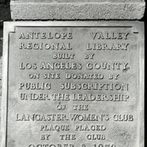 1950 Lancaster Library dedication plaque, Lancaster, California