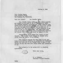 Letter (copy), 1943 October 5, Heart Mountain, Wyo. to Mrs. Douglas Spears, ...