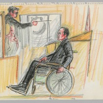 [recto]: 4/5/72 Gary Thomas (in wheelchair), District Attorney Albert Harris, Jr. [pointing ...