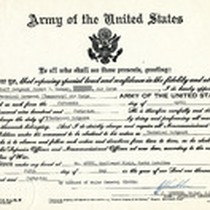 Army Notice of Rank Change Certificate Gammey Received, 1945