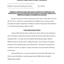 American Whitewater Affiliation's Motion to Intervene and Opposition to PacifiCorp's Petition for ...
