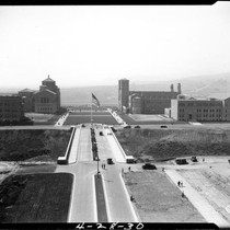 Aerial view of Bridge and campus, 1930