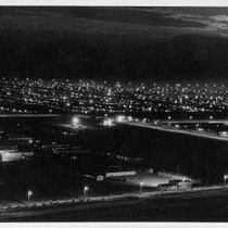 Aerial view of Tule Lake Relocation Center at night