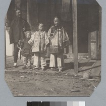 [father with three children]