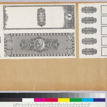 Album page with bank note vignettes of borders, geometric patterns, figures and ...