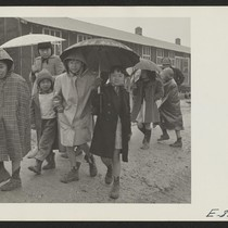 Grade school children leaving the school, at the Jerome Relocation Center. During ...