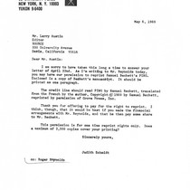 Ping: Correspondence: Letter to Larry Austin from Judith Schmidt