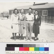 To Yoshi--taken June 15--1943. [My sister (far right) and I, with our ...