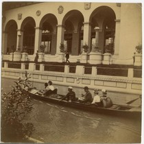 Gondola on canal by Manufacturer's and Liberal Arts Building