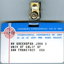 International Conference on AIDS badge of John S. Greenspan