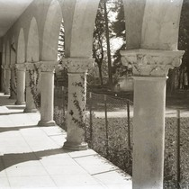 Arches of Harlan Hall at Marin Junior College in Kentfield, Marin County, ...