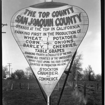 Advertising - Stockton: Placard promoting San Joaquin County