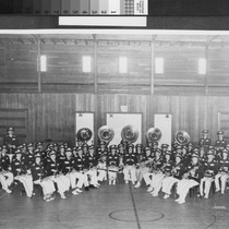 Group photograph of the Yuba City High School Band in 1940