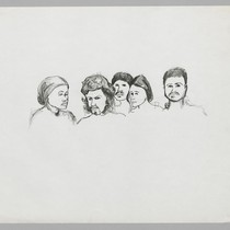 [Five unidentified men and women]