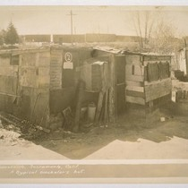 Hooverville, Sacramento, California. A typical bachelor's hut