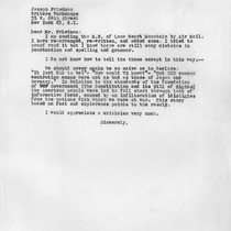 Letter, 1955 November 9, Los Angeles, Calif. to Joseph Friedman, New York, ...