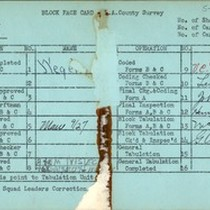 WPA block face card for household census (block 1851) in Los Angeles ...