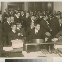 [Courtroom scene. Thomas Mooney Case, 1933? Photograph by C.V. Estey.]